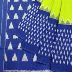 Green-Blue Double Ikat Pyramid Dot Pattern Pure Cotton Pochampally Saree