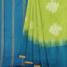Green-Blue Double Ikat Jumbo Dotted Pattern Pure Cotton Saree with Designer Pallu - Online Women's Fashion