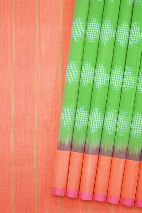 Green-Orange Double Ikat Jumbo Dotted Pattern Pure Cotton Saree Online (1)