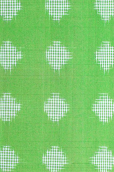 Green-Orange Double Ikat Jumbo Dotted Pattern Pure Cotton Saree Online (4)