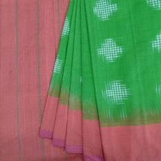 Green-Orange Double Ikat Jumbo Dotted Pattern Pure Cotton Saree with Designer Pallu - Womens Fashion