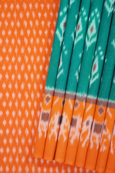 Green-Orange Double Ikat Saree with Floral Pattern Online (1)