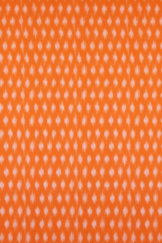 Green-Orange Double Ikat Saree with Floral Pattern Online (2)