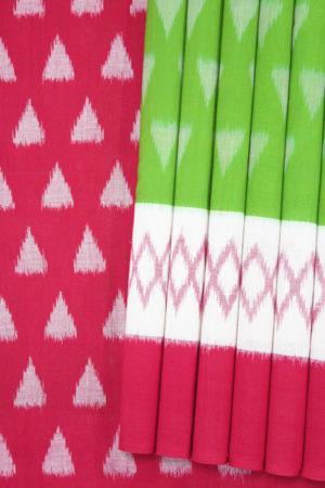 Green-Red-White Coloured Pochampally Saree (1)