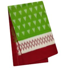 Green Saree with Red Border - Pochampally Ikat Saree