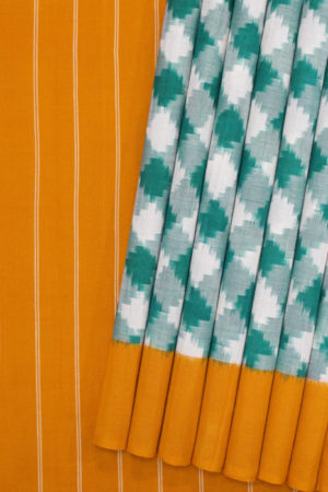 Green-Yellow Double Ikat Chequered Pattern Pure Cotton Pochampally Saree (1)