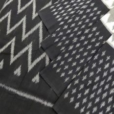 Grey-Black Double Ikat Dotted Pattern Pure Cotton Pochampally Saree