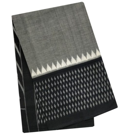 Grey-Black Colour Saree of Pure Cotton Fabric Online