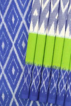 Grey-Blue-Green Coloured Pochampally Ikat Saree (1)