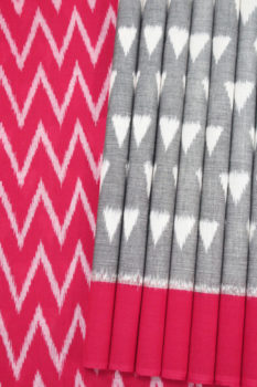 Grey-Red Pyramid Seamless Pattern Pochampally Saree (1)