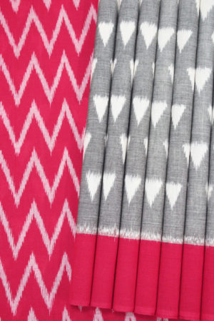 Grey-Red Pyramid Seamless Pattern Pochampally Saree (1)