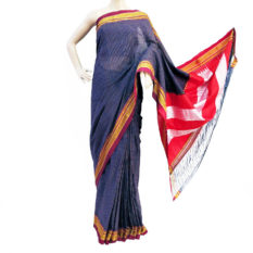 Ilkal Blue-Orange Small Checks Cotton Silk Saree