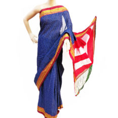 Ilkal Navy Blue-White Small Check Cotton Silk Saree