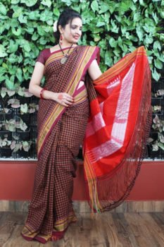 Ilkal Soot Black-Pink Small Checks Cotton Silk Saree 1