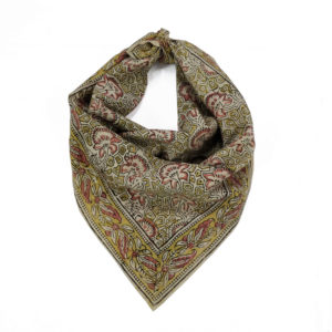 Cream Floral Motif Head Wrap with Hand-Block Printing