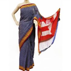Ilkal Indigo Blue-White Small Checks Cotton Silk Saree