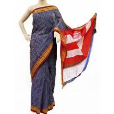 Ilkal Indigo Blue-White Small Checks Cotton Silk Saree