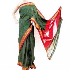 Ilkal Forest Green-Orange Small Checks Cotton Silk Saree
