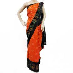 Orange-Black Double Ikat Peacock Pattern Pure Cotton Saree - Pochampally Ikat