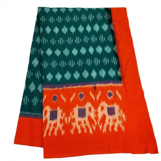Orange Border Saree with Elephant Motifs - GI tagged