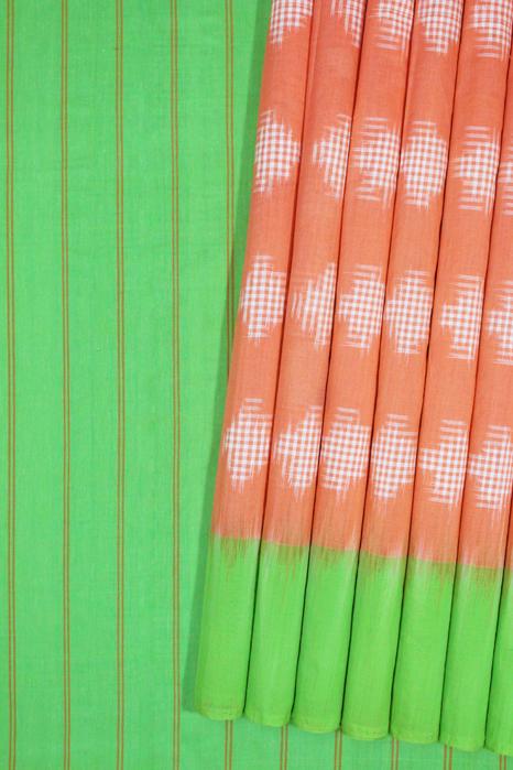 Orange-Green Double Ikat Jumbo Dotted Pattern Pure Cotton Saree Online (1)