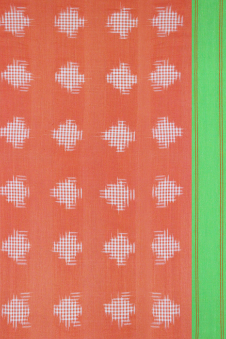 Orange-Green Double Ikat Jumbo Dotted Pattern Pure Cotton Saree Online (3)
