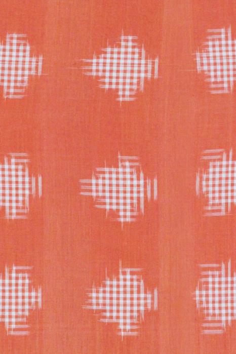 Orange-Green Double Ikat Jumbo Dotted Pattern Pure Cotton Saree Online (4)