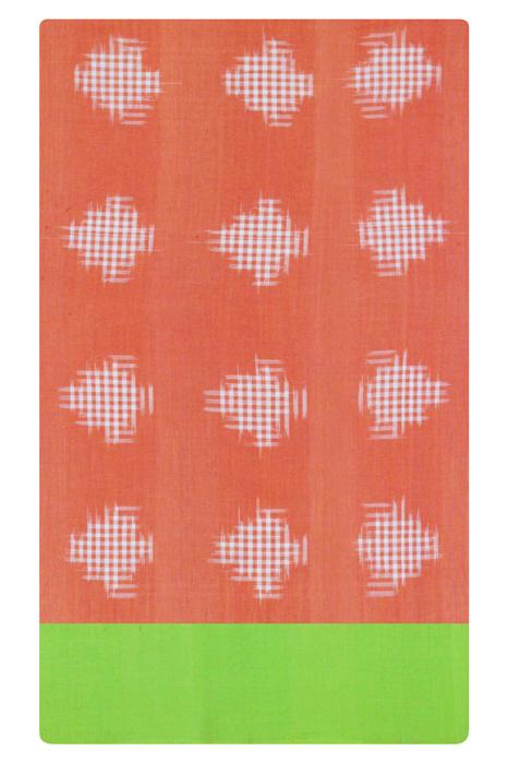 Orange-Green Double Ikat Jumbo Dotted Pattern Pure Cotton Saree Online (5)