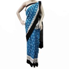Blue-White Double Ikat Pyramid Line Pattern Pure Cotton Saree - GI Tagged