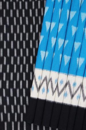 POCHAMPALLY IKAT SAREES - Blue-White Double Ikat Pyramid Seamless Pattern Pure Cotton Saree (1)