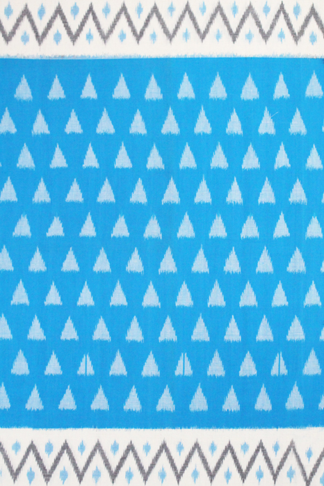 POCHAMPALLY IKAT SAREES - Blue-White Double Ikat Pyramid Seamless Pattern Pure Cotton Saree (3)