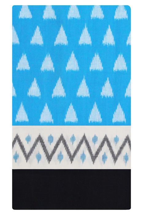 POCHAMPALLY IKAT SAREES - Blue-White Double Ikat Pyramid Seamless Pattern Pure Cotton Saree (5)