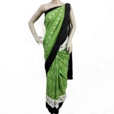 Green-Black Double Ikat Seamless Pattern Pure Cotton Saree
