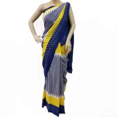 Pochampally Ikat Saree - Grey-Blue Double Ikat Geometric Pattern Pure Cotton Saree