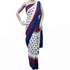 White-Blue Double Ikat Pyramid Pattern Pure Cotton Saree