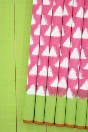 Pink Colour Pochampally Ikat Cotton Saree (1)