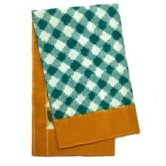 Pochampally Double Ikat Cotton Saree - Green-Yellow Colour Saree - GI tagged