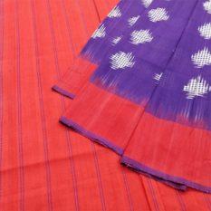 Purple-Red Double Ikat Jumbo Dotted Pattern Pure Cotton Pochampally Saree