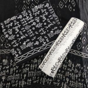 Tribal Art Pattern Cotton Salwar Suit Material with Chiffon Dupatta - Black-White