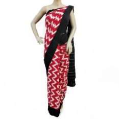 Red-Black Double Ikat Seamless Pattern Pure Cotton Saree Online - Womens Clothing