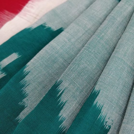 Red-White Cotton Saree with Green Geometric Pattern