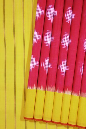 Red-Yellow Double Ikat Jumbo Dotted Pattern Pure Cotton Saree Online (1)