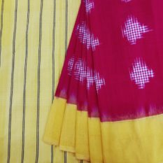 Red-Yellow Double Ikat Jumbo Dotted Pattern Pure Cotton Saree with Designer Pallu Online