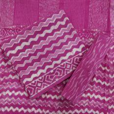 Pink-White Chevron Pattern Cotton Salwar with Chiffon Dupatta