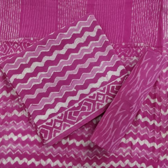 Pink-White Chevron Pattern Cotton Salwar with Chiffon Dupatta