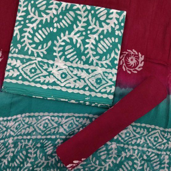 Green-Maroon Spring-Fret Pattern Cotton Salwar with Chiffon Dupatta