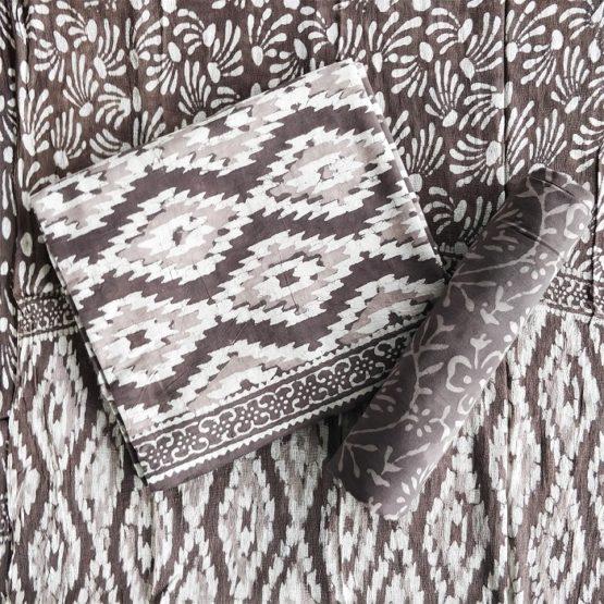 Chevron-Diamond Pattern Cotton Salwar Suit Material with Chiffon Dupatta - Brown-White