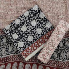 Spiral Flower Motif Cotton Salwar Suit Material with Chiffon Dupatta - Cream-Black