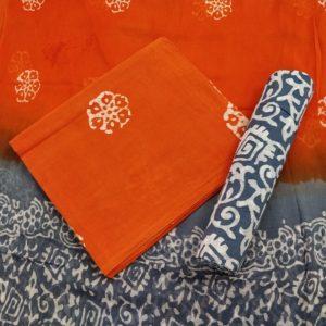 Floral Creeper Motif Cotton Salwar Suit Material with Chiffon Dupatta - Orange-Grey