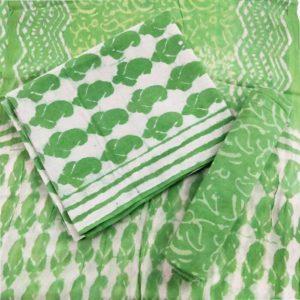 Leaf Motif Cotton Salwar Suit Material with Chiffon Dupatta - Green-Cream
